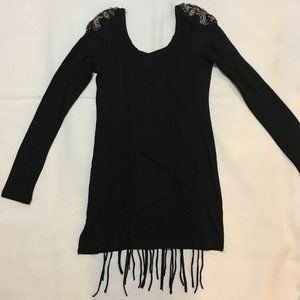Miss Me Black Fringe Dress Large NWT